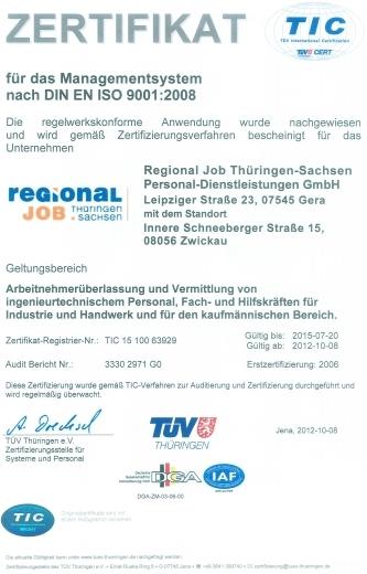 Regionaljob Thüringen-Sachsen Personaldienstleisungs GmbH für ...